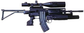 Olympic Arms folder with grenade launcher/24x56mm scope/3-40 rd mag attachment.