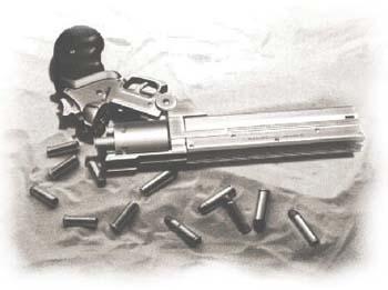 Actual custom made version of gun used by cartoon hero Vash in the Japanese animated series Trigun.