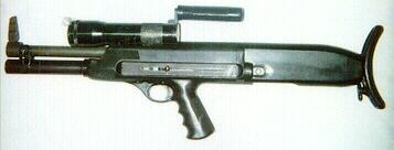 High Standard 10B 12ga Police shotgun with rare 2rd tube extension, original Kel-Lite