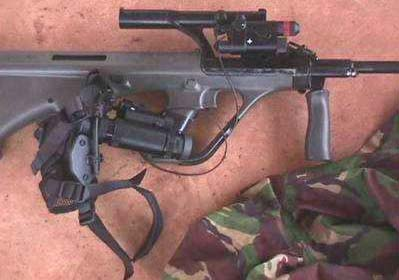 Australian F-88 rifle (Version of Steyr Aug) with NAD (infra red Night Aiming Device) attatched. Manufactured in Lithgow Australia