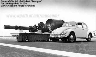 GAU-8/A 30mm Avenger Used by A10's to destroy tanks.