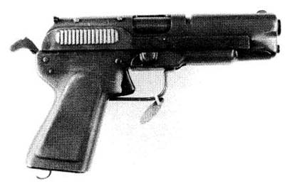 .45 caliber pistol produced largely from stampings (WW2)