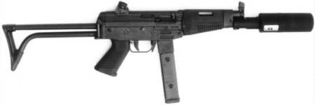Famae SAF 9mm (suppresed) submachine gun