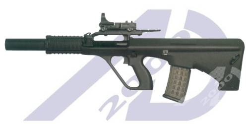Suppressed Steyr AUG & RIS 5.56x45mm NATO  Shadow Aug