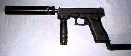GLOCK 17 WITH B&T SUPRESSOR, FRONT GRIP, STOCK AND SELECT FIRE DEVICE