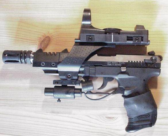 Walther P22 target with AR 15 flash hidder