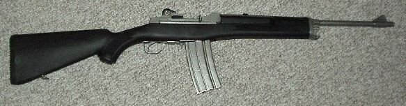 Ruger Mini 14 stainless with POLYMER stock, nickel 30rd magazine.