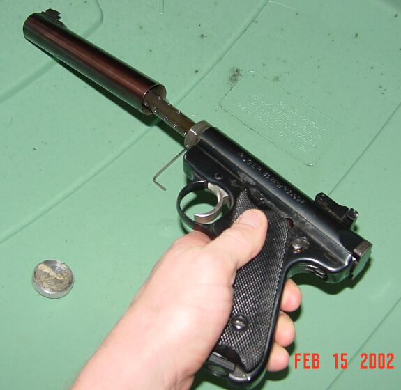 Ruger MK2 With surpressor unscrewed