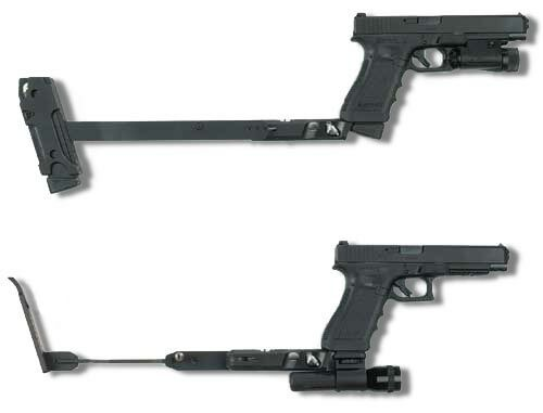 Glock with gun-power foldable stocks