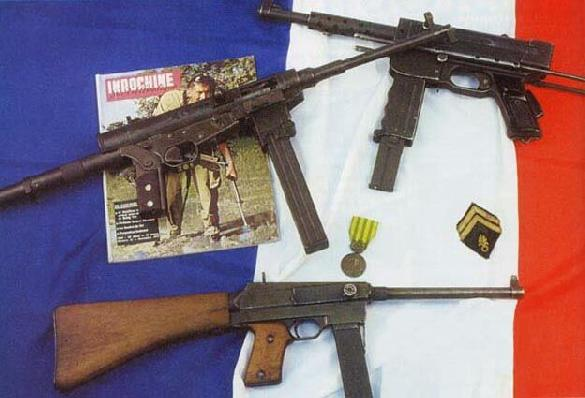 3 french machine guns employed in Indochina war