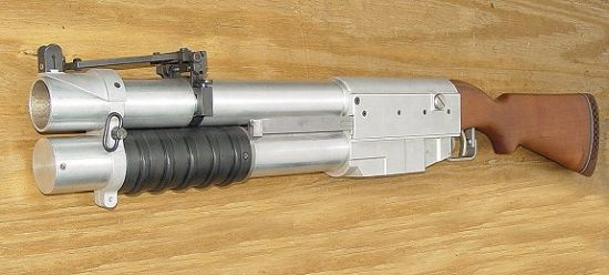 40mm Four Shot Pump Grenade Launcher. Copy of the China Lake NATIC