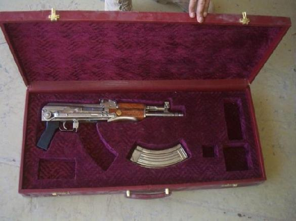 Saddam's Nickel finnish AKM 7.62x39mm with chinese folding stock in a luxury show box