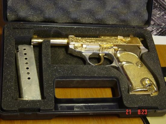 Saddam's Gold and Nickel finish Walther Pistol 1 (called Heeres Pistole