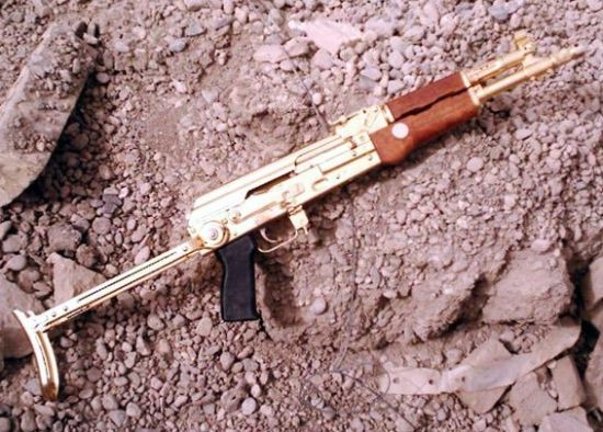 Saddam's Gold plated AKM 7.62x39mm with chinese folding stock