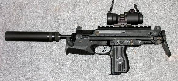 Polish 9mm FB PM-98 (Glauberyt) submachine gun with Picatinny rail and B&T silencer.