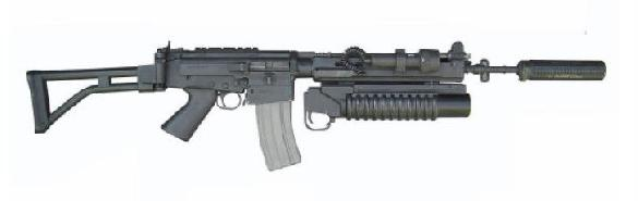 IMBEL Md-97L assault rifle with tactical accessories