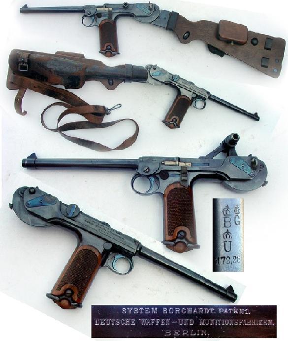 DWM Borchardt semi-automatic pistol w/ holster & detachable stock